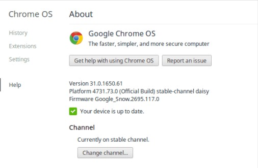 how to update chromebook